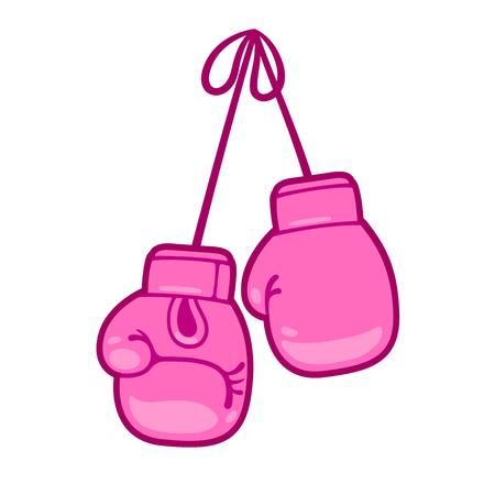 Guantoni da boxe rosa girly illustrazione vettoriale. Coppia di simpatici guanti da cartone animato appesi. Vettoriali