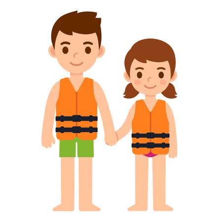 Cute cartoon kids, little boy and girl, in life vests. Water safety for children vector illustration. Illusztráció