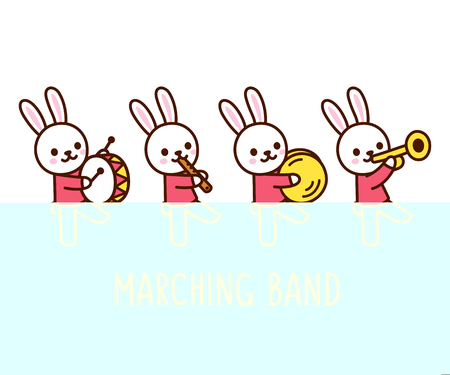Marching band of cute cartoon bunnies playing musical instruments. Adorable vector clip art illustration.