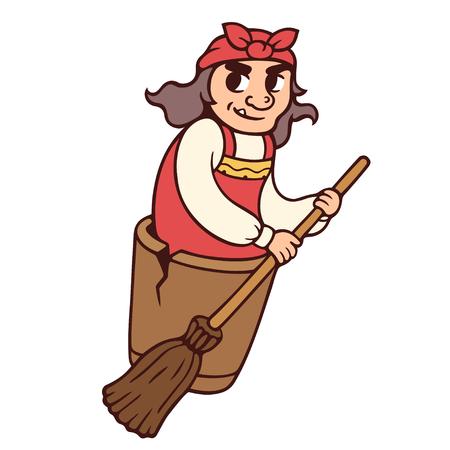 Baba Yaga, bruja del folclore eslavo, volando con escoba. Ilustración de vector de personaje de cuento de hadas ruso de divertidos dibujos animados.