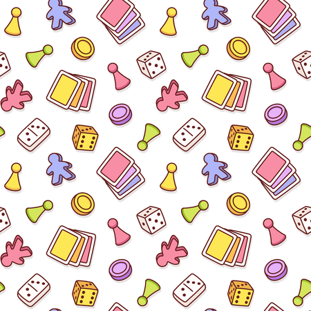 Board game themed seamless pattern. Colorful cartoon game pieces, playing cards and dice. Isolated vector tileable texture background.