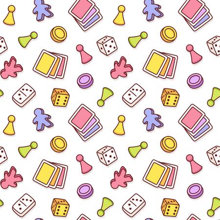 Modèle sans couture sur le thème du jeu de société. Pièces de jeu de dessins animés colorés, cartes à jouer et dés. Fond de texture à carreler vecteur isolé. Vecteurs