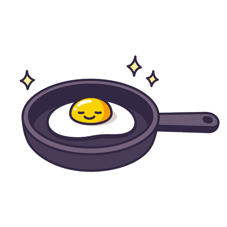 Cute cartoon fried egg on skillet, breakfast food illustration.