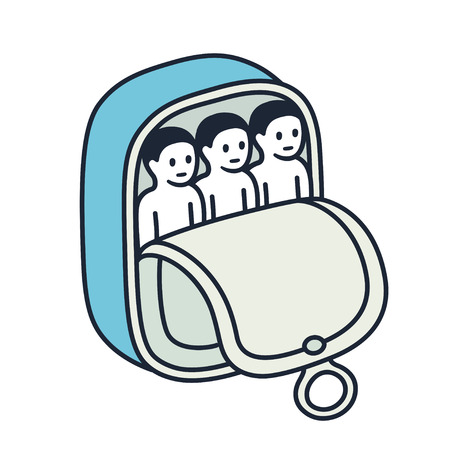 People packed together like sardines in a can. Funny metaphor concept illustration, vector clip art. Ilustracja
