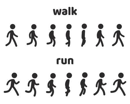 Einfache Strichmännchen-Walk-and-Run-Zyklus-Animation, 6-Frame-Schleife. Charakter-Sprite-Blatt-Vektor-Illustration-Set.