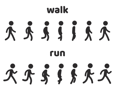 Simple stick figure walk and run cycle animation, 6 frame loop. Character sprite sheet vector illustration set. Illustration