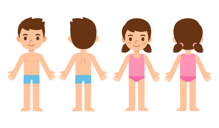 Cute cartoon children in underwear, boy and girl from front and back. Education infographic template, body parts and medical graphics. Isolated vector illustration.