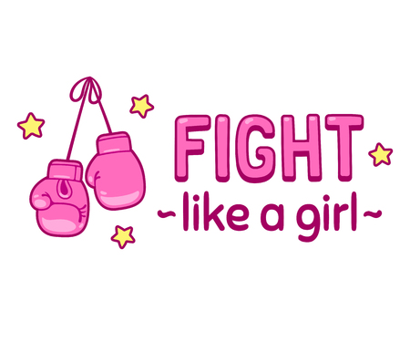 Fight like a girl. Cute cartoon lettering print or poster with pink boxing gloves. Girl power and feminism vector illustration. Vektorové ilustrace