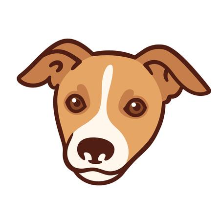 Cartoon dog portrait. Cute stylized puppy head vector illustration.