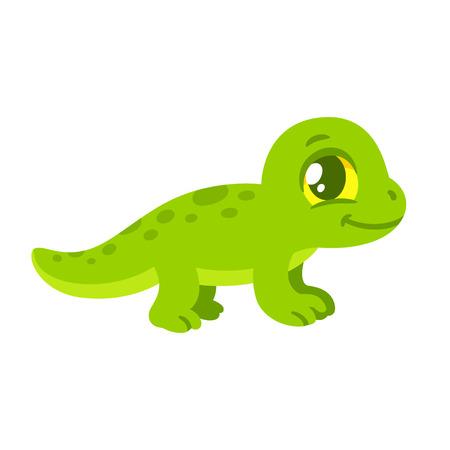 Cute Cartoon Baby Lizard Drawing Little Green Reptile Vector