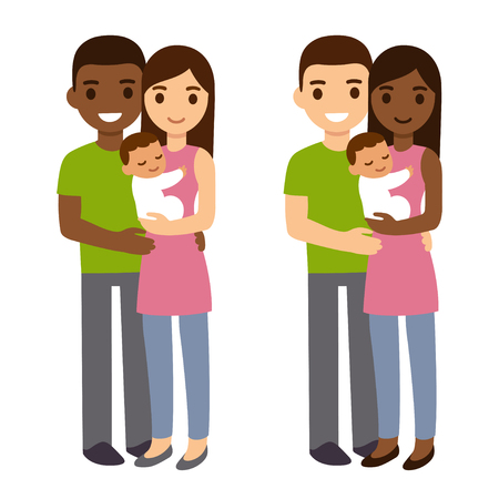 Interracial couple with newborn baby. Cute cartoon vector illustration of mixed race family. Çizim