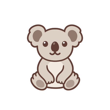 Cute cartoon baby koala drawing. Funny little koala sitting, simple vector clip art illustration. Kawaii mascot or logo.