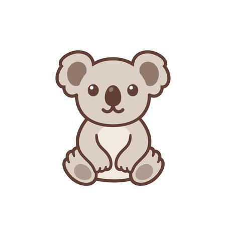 Disegno di koala del bambino sveglio del fumetto. Divertente piccolo koala seduto, semplice illustrazione clipart vettoriali. Mascotte o logo kawaii.