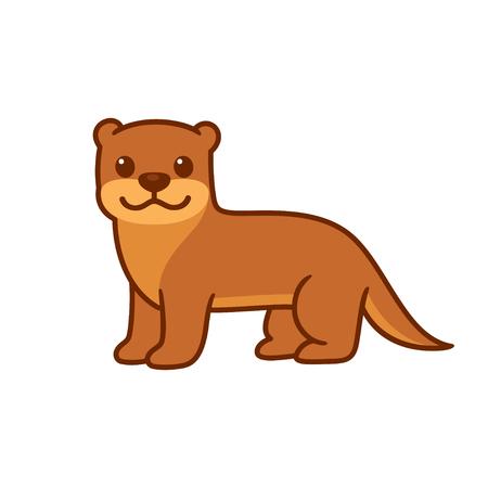 Cute cartoon otter drawing. Funny animal character vector illustration.