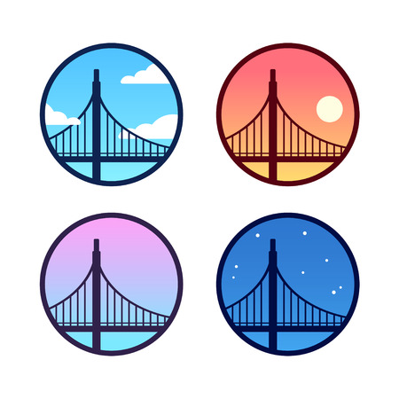 Golden Gate Bridge icon set with different sky background color: day, night, sunset. Simple San Francisco landscape logo variations. Cartoon silhouette vector illustration.