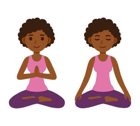 Cute cartoon black girl doing yoga and meditating in lotus pose. Mindfulness and meditation vector character illustration. 矢量图像