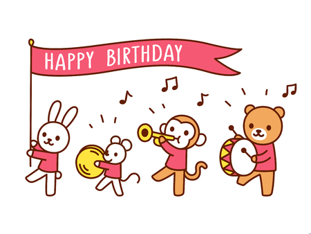 Cute Happy Birthday greeting card with funny cartoon animals playing music. Kawaii marching band parade drawing, vector illustration for children. Banner flag with text on separate layer. Vectores