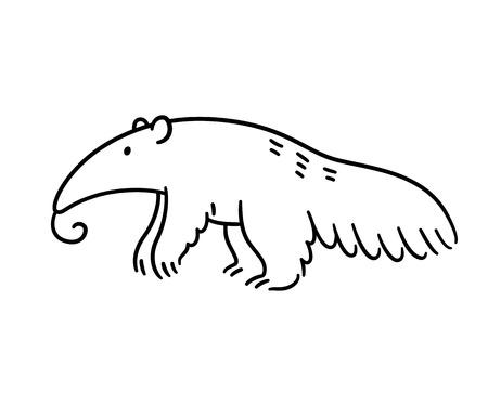 Cartoon anteater black and white line art drawing. Hand drawn animal illustration.