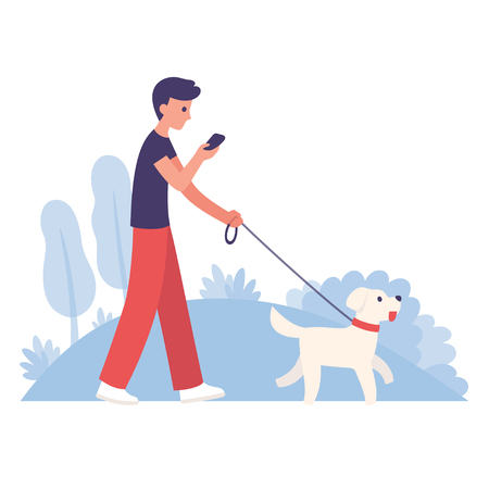 Young man walking dog in park while looking on smartphone. Simple, modern flat cartoon style vector illustration.