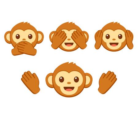 Insieme dell'icona di emoji faccia di scimmia simpatico cartone animato. Tre scimmie sagge con le mani che coprono occhi, orecchie e bocca: non vedere il male, non sentire il male, non parlare del male. Illustrazione vettoriale semplice. Vettoriali