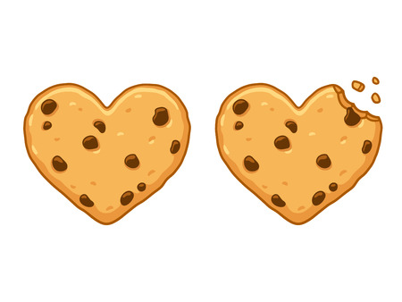 Heart shaped chocolate chip cookie with bite and crumbs. Cute cartoon style vector illustration. Ilustração