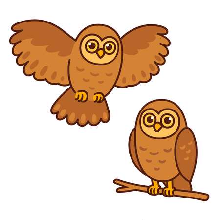 Cartoon owl set, sitting perched on branch and flying. Cute character drawing, isolated vector illustration Illustration