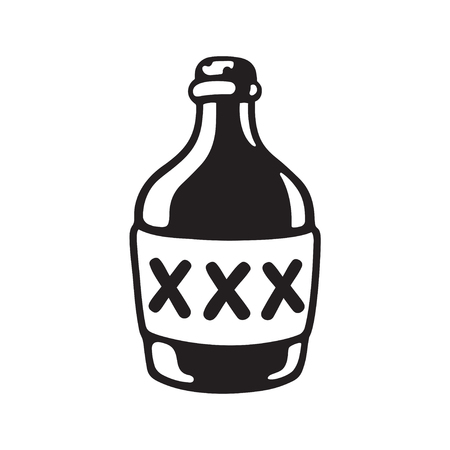 Cartoon bootle of moonshine with XXX label. Black and white drawing of alcohol bottle. Vector illustration.