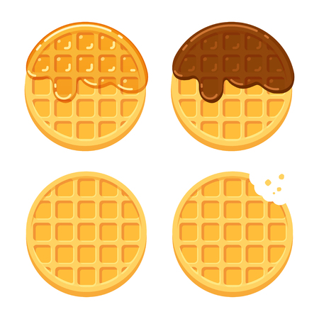 Cartoon round waffles illustration set. Plain, with chocolate and syrup. Traditional breakfast food vector illustration set.