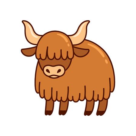 Dessin de yak ou de boeuf de dessin animé mignon. Illustration vectorielle de vache poilue de bétail.