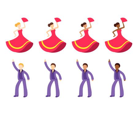 Conjunto de emoji de bailarina masculina y femenina. Hombre bailando discoteca y mujer bailaora de flamenco con diferente color de piel. Colección de iconos vectoriales de dibujos animados planos.