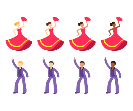Male and female dancer emoji set. Disco dancing man and flamenco dancer woman with different skin tone color. Flat cartoon vector icon collection. Ilustrace