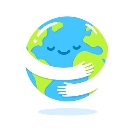 Save the planet, Earth hug drawing. Cute cartoon Earth Day vector clip art illustration.