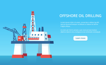 Oil rig infographic banner with copy space for text. Offshore drilling platform on blue ocean background. Vector illustration. Reklamní fotografie - 124789936