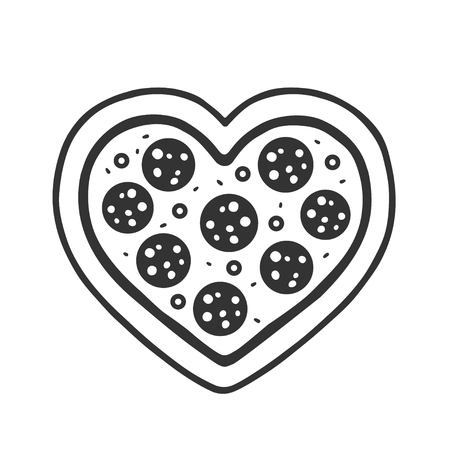 Heart shaped pepperoni pizza drawing. Funny pizza lovers doodle sketch, isolated vector illustration.