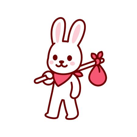 Bunny vagabond character drawing. Simple and cute cartoon bunny travelling with hobo sack. Kawaii vector illustration. Illusztráció