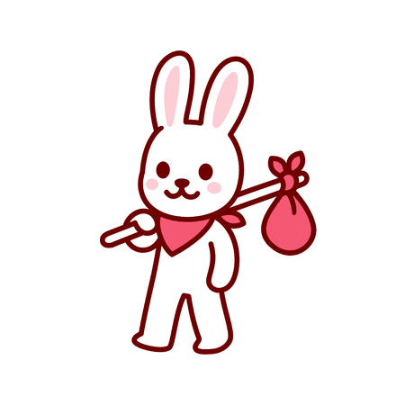 Bunny vagabond character drawing. Simple and cute cartoon bunny travelling with hobo sack. Kawaii vector illustration. Illustration