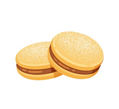 Alfajor de maicena, biscotti sandwich tradizionali cileni ripieni di manjar (dulce de leche). Dolce classico sudamericano. Illustrazione di arte di clip di vettore isolato.