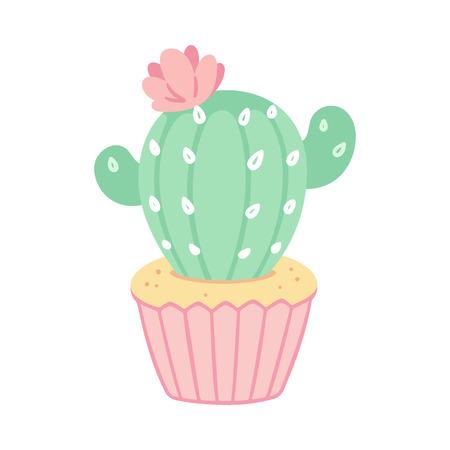 Cute cupcake drawing with cactus decoration. Desert dessert vector illustration.