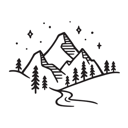 Mountain landscape with river at night. Black and white ink drawing, stylized hand drawn sketch. Vector illustration.