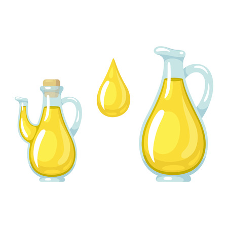 Glass jugs of olive oil and realistic drop. Cooking vegetable oil bottles, vector illustration set.