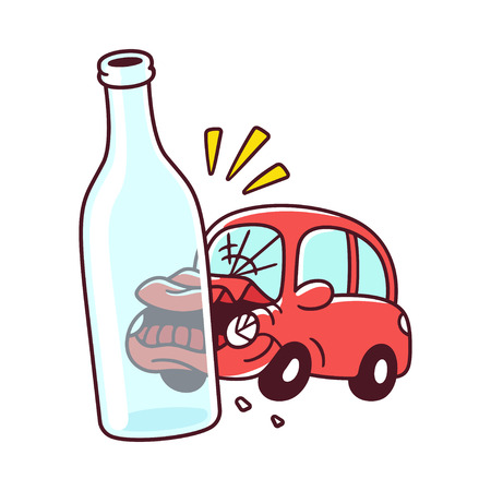 Don't drink and drive poster drawing. Drunk driving accident with car crash and bottle of alcohol. Vector illustration. Vector Illustration