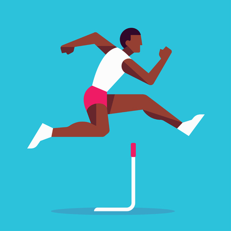 Schwarzer Athlet, der im Hürdenlauf springt, einfache stilisierte geometrische Vektorillustration. Moderner flacher Athletenläufer.