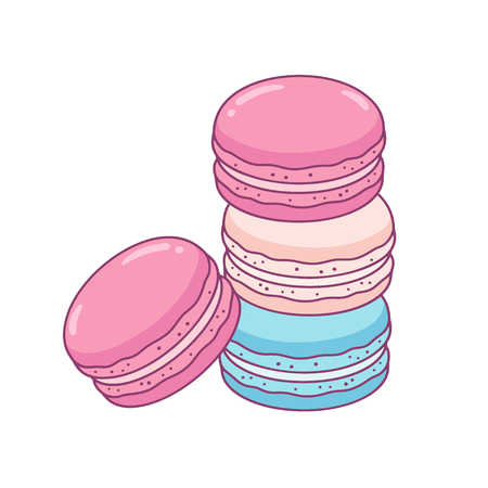 Stacked Macaron cookies: pink, blue and white. Tradicional French sweet treat drawing. Cute hand drawn vector illustration.