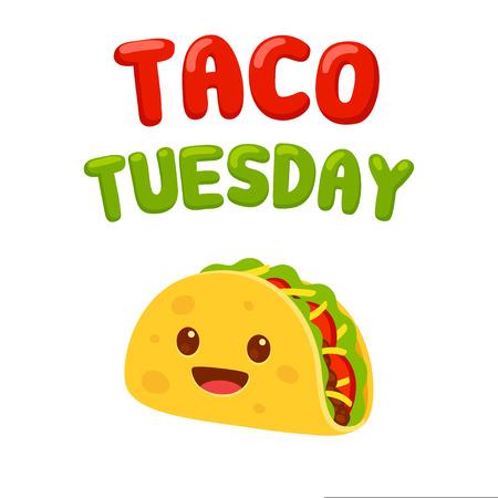 Personaje de taco de divertidos dibujos animados con texto Taco Tuesday. Ilustración de vector de comida mexicana tradicional. Ilustración de vector