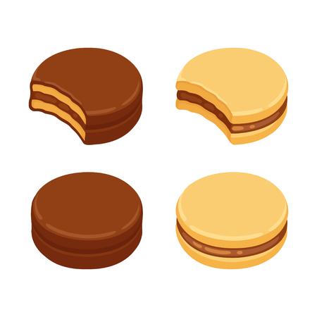 Alfajor Sandwich-Keks-Set, mit Dulce de Leche-Füllung und mit Schokolade überzogen. Isolierte Vektor-ClipArt-Illustration. Vektorgrafik