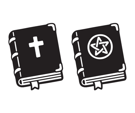 Holy Bible with cross and dark magic spell book with pentagram cartoon drawing. Simple black and white hand drawn vector illustration.