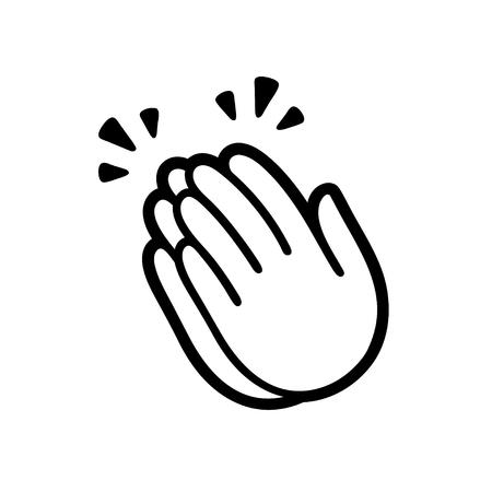 Símbolo de emoji de las manos aplaudiendo, icono de aplausos. Ilustración vectorial simple en blanco y negro.