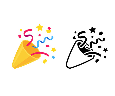 Party popper with confetti, cartoon emoji and black and white icon. Isolated vector illustration of birthday cracker symbol. Vectores