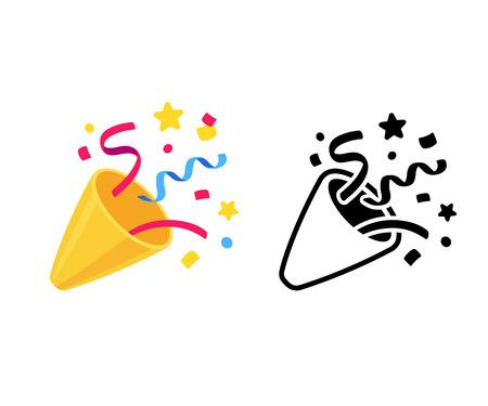 Popper de fiesta con confeti, emoji de dibujos animados e icono blanco y negro. Ilustración de vector aislado del símbolo de la galleta de cumpleaños.