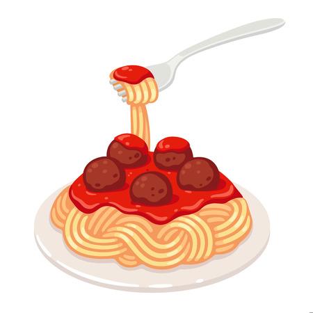 Espaguetis con salsa de tomate y albóndigas. Ilustración de arte de clip de vector de plato de pasta clásica.